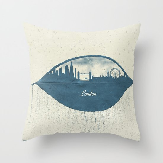 Rainy Day in London Throw Pillow
