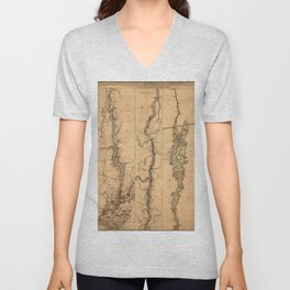 Map Of The Hudson River 1777 Unisex V-Neck