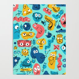 Colorful Character Shapes Poster