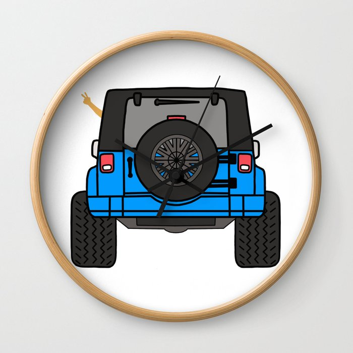 Jeep Wave Back View Blue Jeep Wall Clock By Indicap Society6