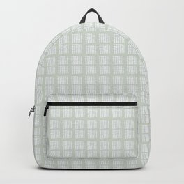 Hand drawn block pattern in pale moss green and white Backpack