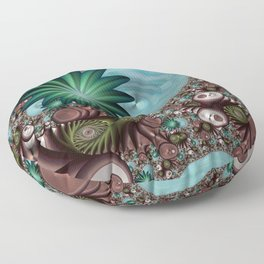 Tropical Trails Fractal Floor Pillow