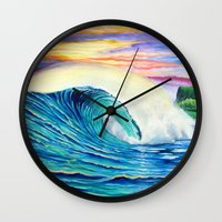 indonesia Wall Clocks featuring  Surf Art  Indonesia by Surf Art Gabriel Picillo