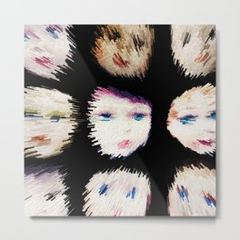 199 - Fast Faces abstract design black Metal Print