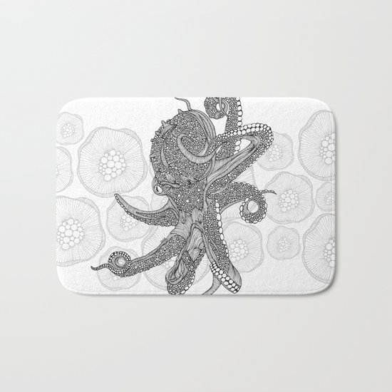 Octopus Bloom black and white Bath Mat