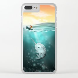Narwhal meets Girl Clear iPhone Case