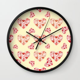 Big heart made of much of little colorful hand drawn hearts repeated pattern Wall Clock