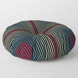 Symmetrical Lines Pattern in Pink, Blue and Green Floor Pillow