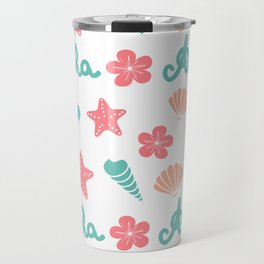 summer pattern background with hand drawn lettering aloha word, seashells, starfishes and flowers Travel Mug