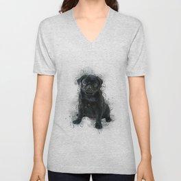 Black Pug Unisex V-Neck