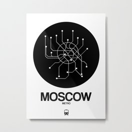 Moscow Black Subway Map Metal Print