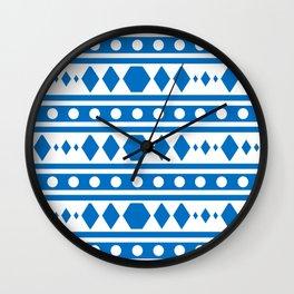 Blue Tribal Pattern Wall Clock