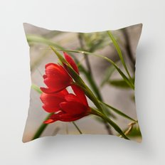 Red Blooming Throw Pillow