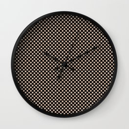 Black and Toasted Almond Polka Dots Wall Clock