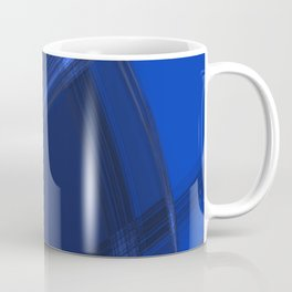 Metallic strokes with chaotic indigo lines from intersecting glowing neon stripes. Coffee Mug