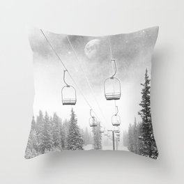 Chairlift Moon Break // Riding the Mountain at Copper Colorado Luna Sky Peeking Foggy Clouds Throw Pillow