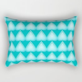 Pattern of white hearts and azure flowers on a blue background. Rectangular Pillow