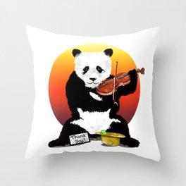 Panda Playing a Violin Throw Pillow