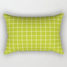 Acid Green - Green Color - White Lines Grid Pattern Rectangular Pillow