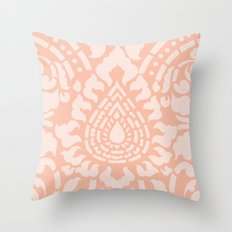 Peach Damask Pattern Throw Pillow