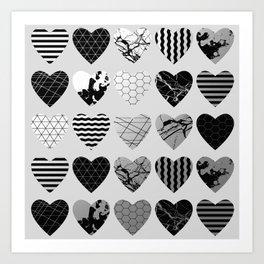 Metallic Love - Hexagon, stripes, triangles, geometric, marble, paint splat hearts! Art Print