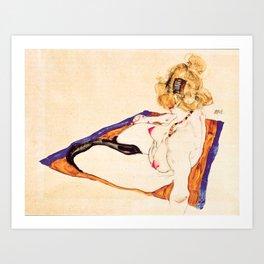 Egon Schiele - Blonde nude model sitting on brown cloth Art Print