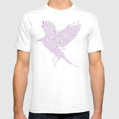 Flight in Swirls MEDIUM Mens Fitted Tee White