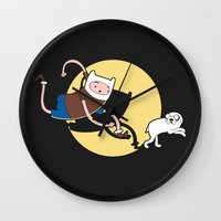 tintin Wall Clocks featuring Adventure Tin by Moysche Designs