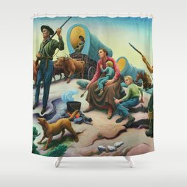 Missouri Settlers meeting Native American's on the Great Plains landscape painting by Thomas Hart Benton Shower Curtain