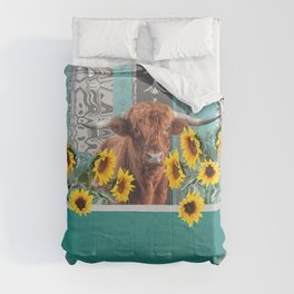 bathtub with Highland cow and sunflowers Comforters
