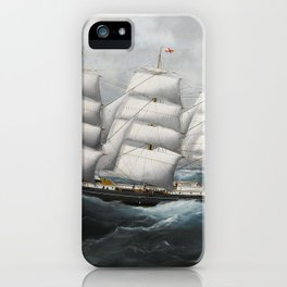 Vintage British Frigate Sailboat Painting (1881) iPhone Case