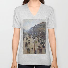"""Camille Pissarro """"Boulevard Montmartre, morning, cloudy weather"""" Unisex V-Neck"""