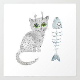 Watercolor gray kitten Art Print
