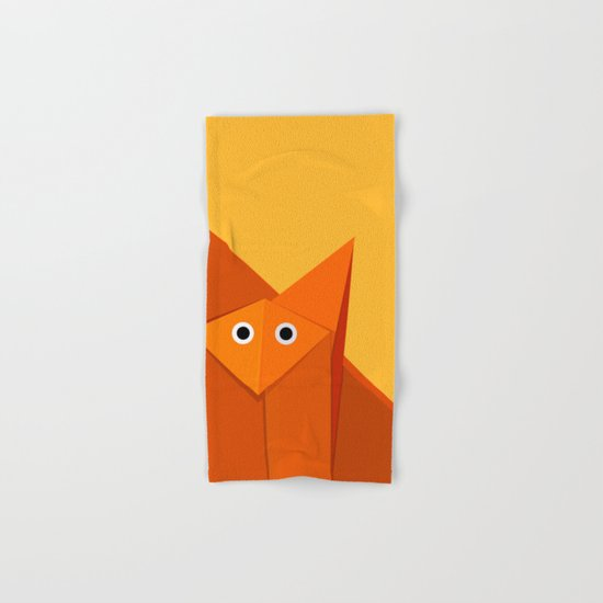 Geometric Cute Origami Fox Portrait Hand & Bath Towel