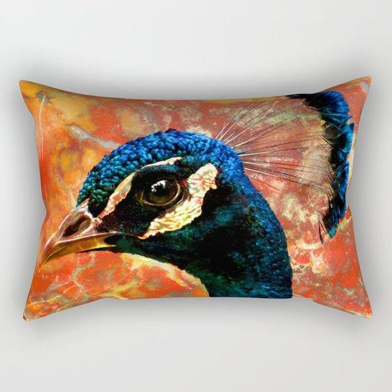 Rock and a Peacock Rectangular Pillow
