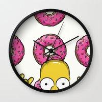 simpson Wall Clocks featuring Strange Homer Simpson by Yuliya L