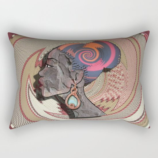 African woman profile on a woven basket Rectangular Pillow