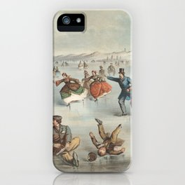 Vintage Central Park Ice Skating Painting (1861) iPhone Case