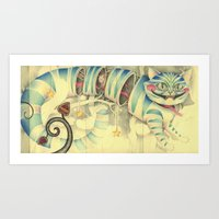 cheshire cat Art Prints featuring Cheshire Cat by Lady Orlando