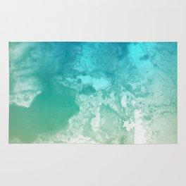 Coastal Style Abstract Ocean Watercolor Blue Rug