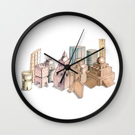the city painted in pastel colours . illustration . art Wall Clock