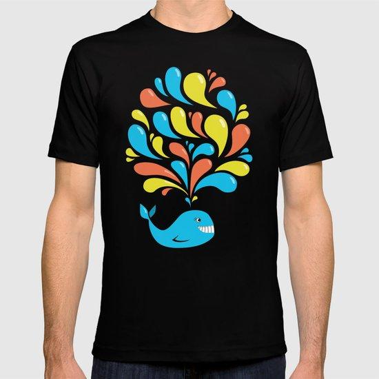 Colorful Swirls Happy Cartoon Whale T-shirt