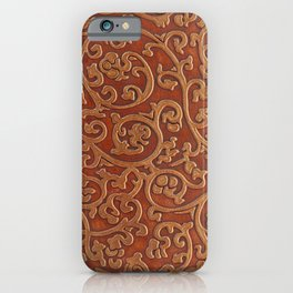 Golden Reddish Brown Tooled Leather iPhone Case