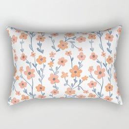 Orange Blue Foral Pattern Rectangular Pillow