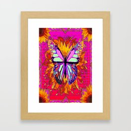 Rainbow Colored Butterfly On Red-fuchsia Sunflower Floral  Framed Art Print