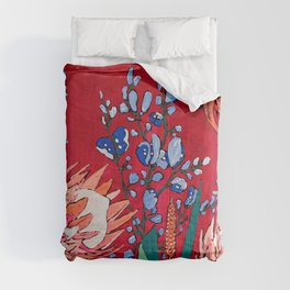 Red and Blue Floral with Peach Proteas Comforters