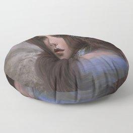 Romantic and elegant girl portrait Floor Pillow