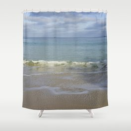 Turquoise Winter Waves and Sky Shower Curtain