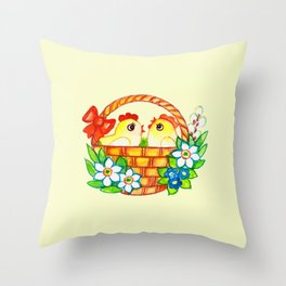 CHICKS-IN-A-BASKET Throw Pillow