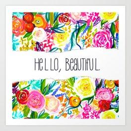 Neon Summer Floral + Hello Beautiful Art Print